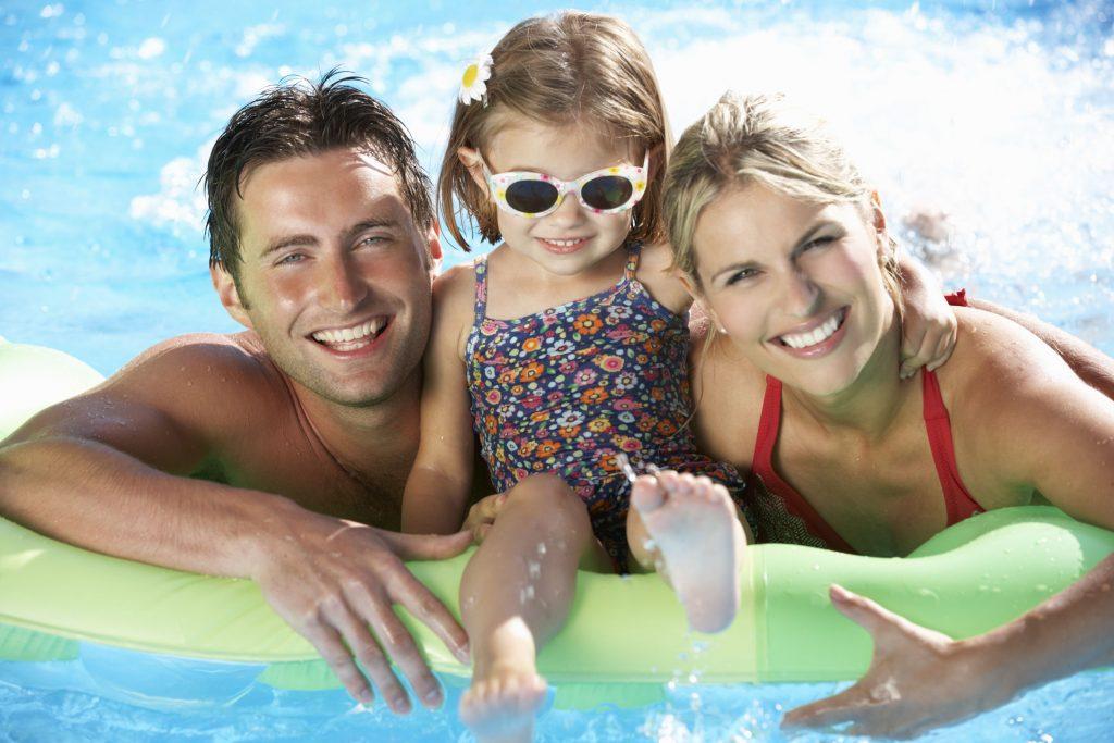 Family enjoying pool time