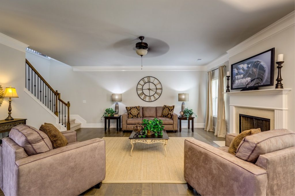 Family room with gas lit fireplace at Cowan Ridge