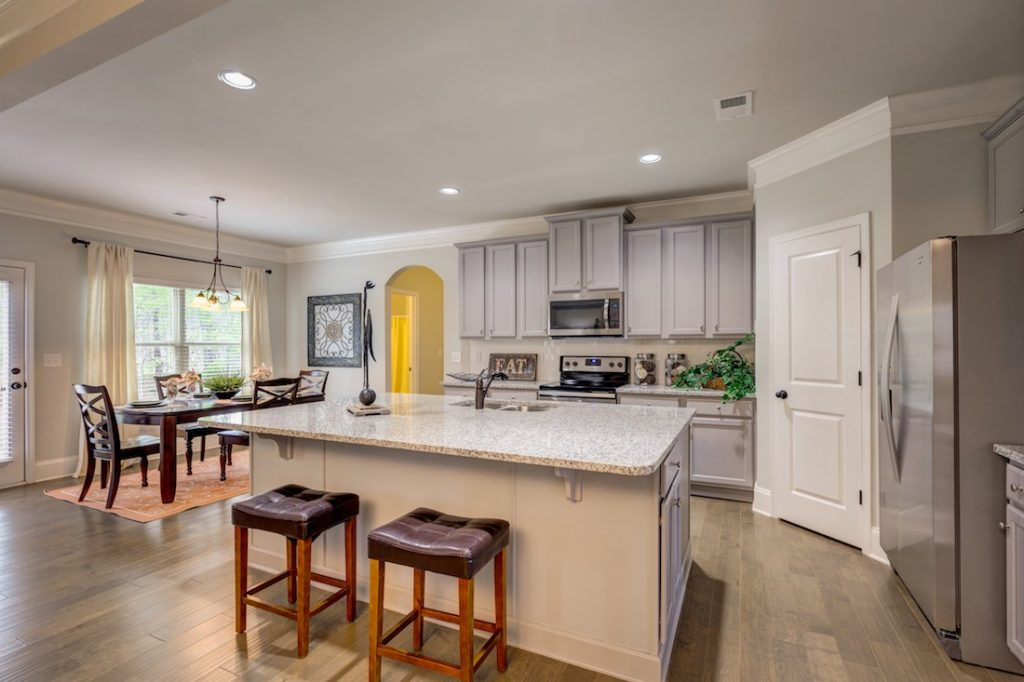 Kitchen and breakfast area at our model home in Cowan Ridge