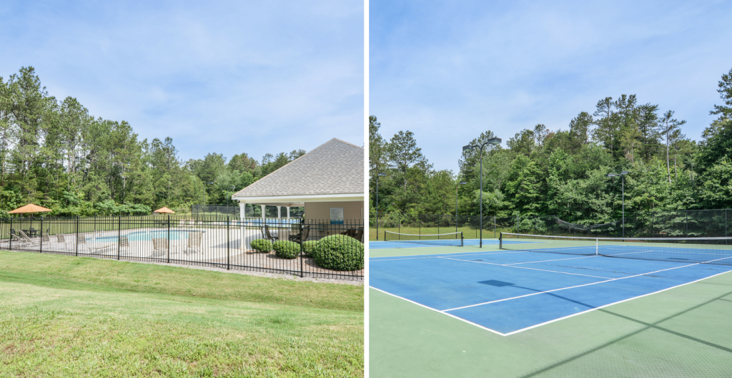 Community pool and tennis courts at Montclair
