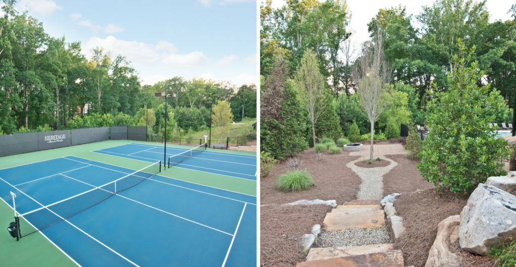 Tennis courts and community fire pit at Heritage at Kennesaw Mountain