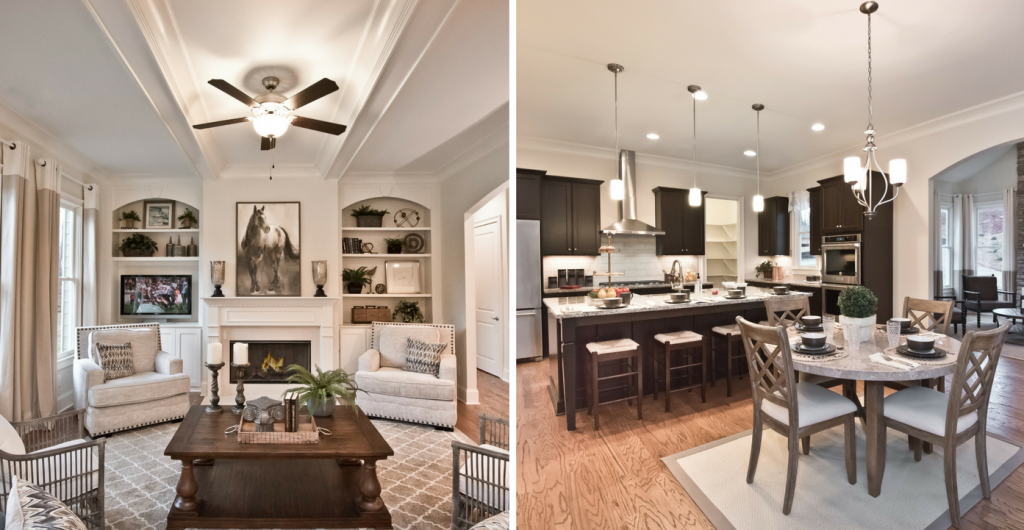 Family room and kitchen of the model home at Heritage at Kennesaw Mountain