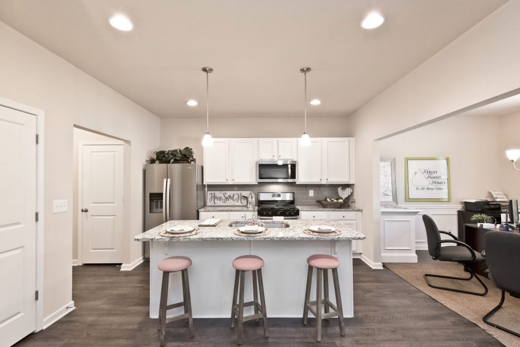 An open one-wall kitchen in Village at West Cobb