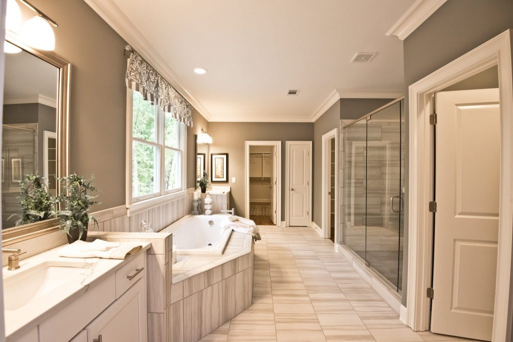 A Master Bathroom in Heritage at Kennesaw Mountain