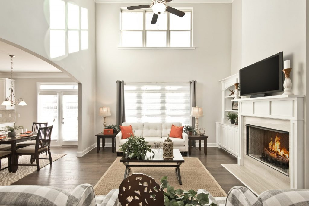 The living room in a new home in Gwinnett in Overlook at Hamilton Mill
