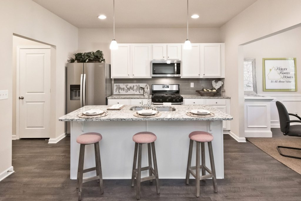 The kitchen in a Village at West Cobb townhome in Powder Springs