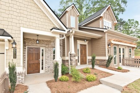 Ground level front entry style shown in Villas at Hickory Grove