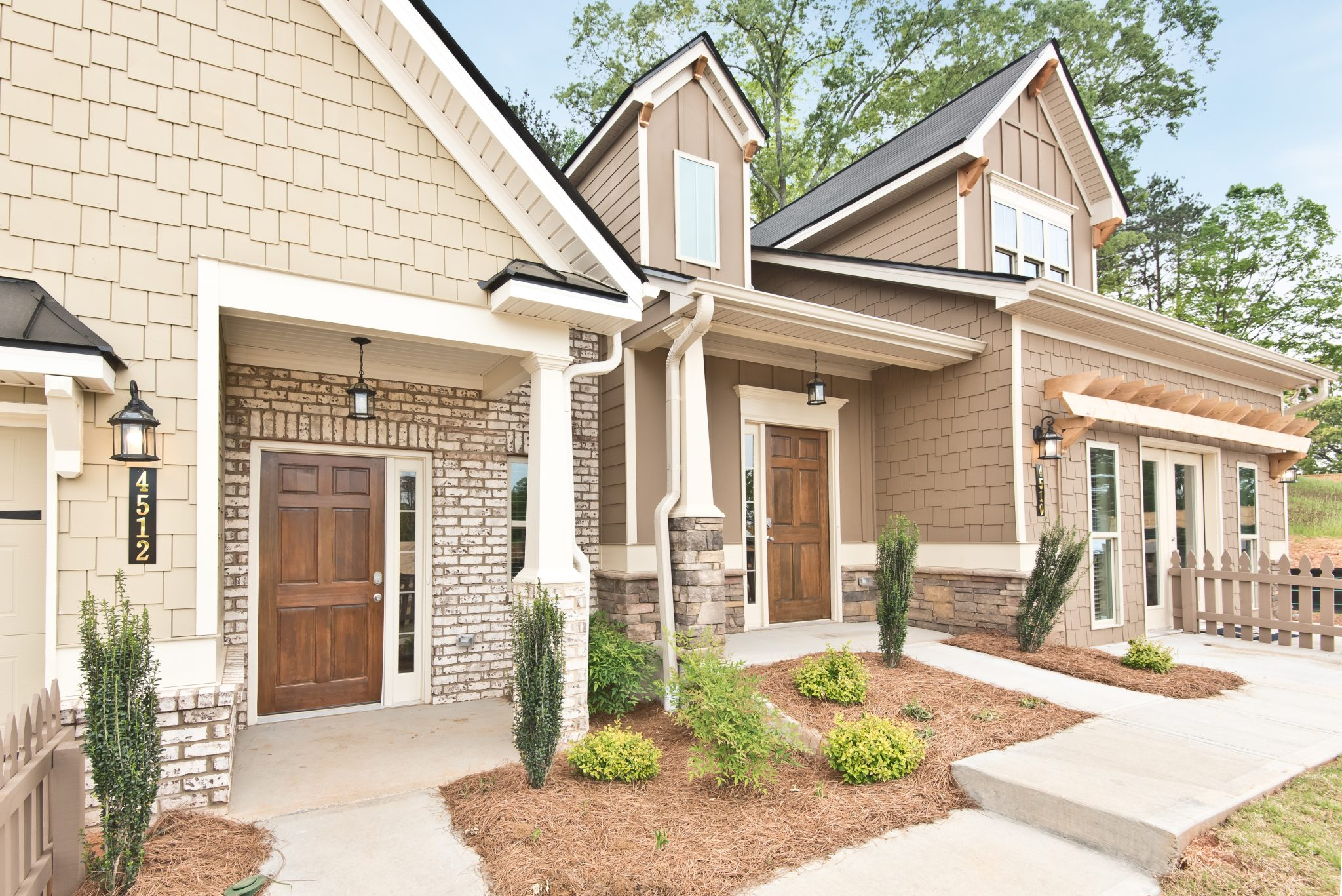The front entries in Villas at Hickory Grove