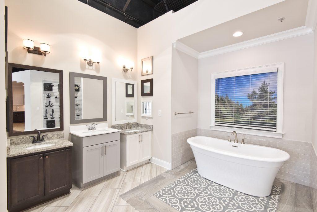 a bathroom mockup in the home design studio