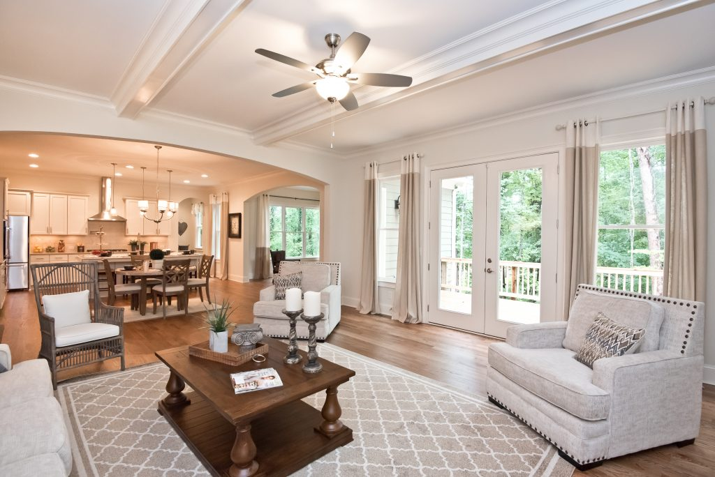A living room style in Heritage at Kennesaw Mountain
