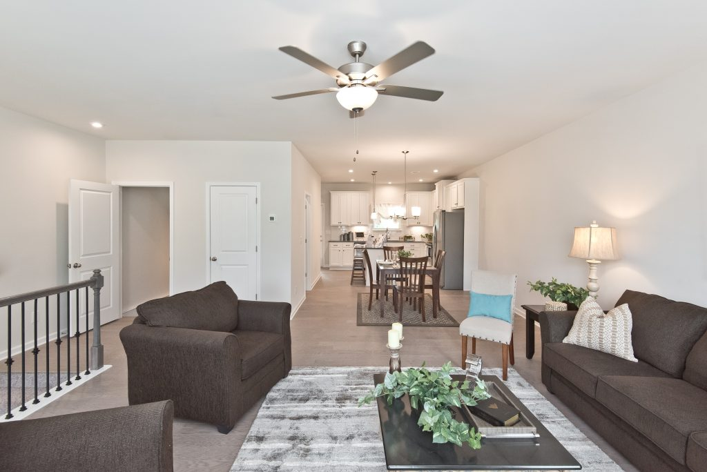The living room in a Kennesaw townhome at Cantrell Crossing