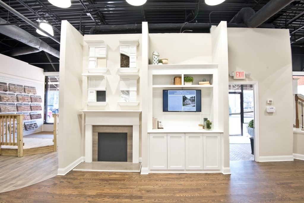a fireplace display in the design studio