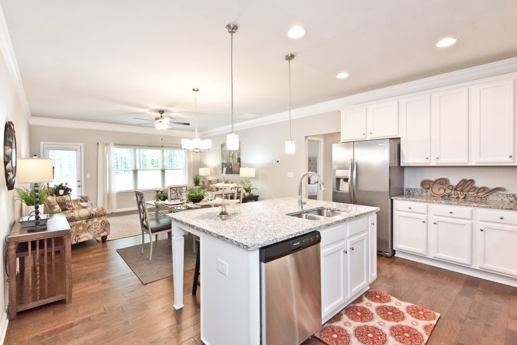 a kitchen in a villas at hickory grove home