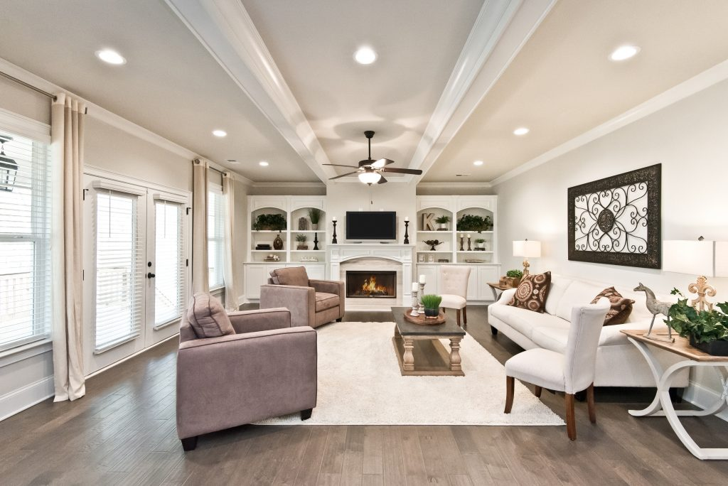 A living room in Kennesaw at Gunnerson Pointe