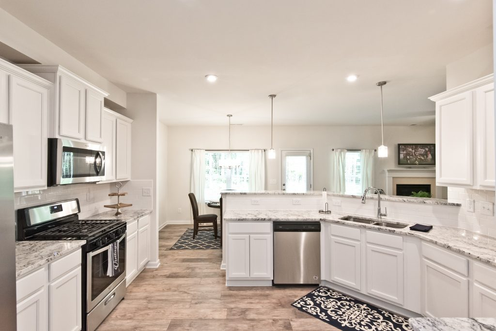 granite countertops, a standard feature in a Kerley Family Homes kitchen.