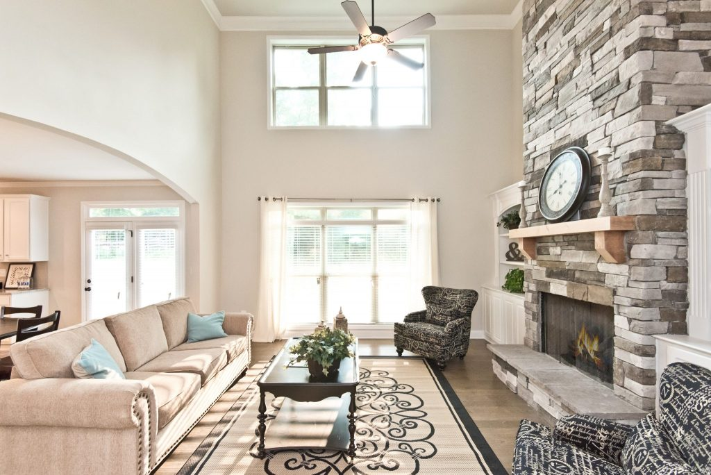 A new construction living room in spring