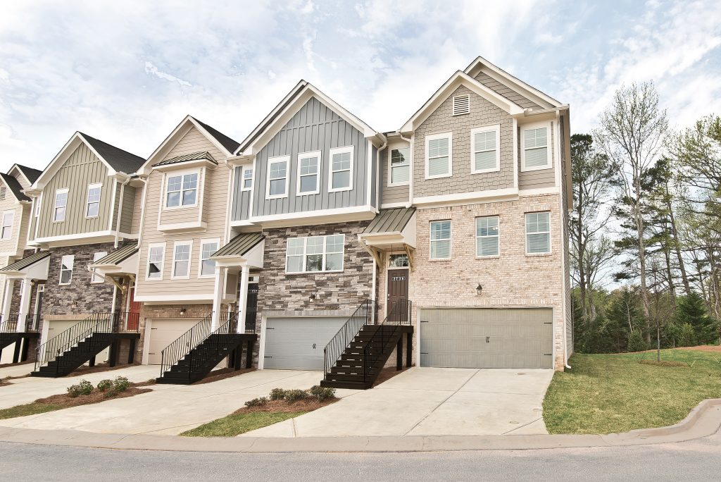 Cantrell Crossing townhome exteriors, single car garage