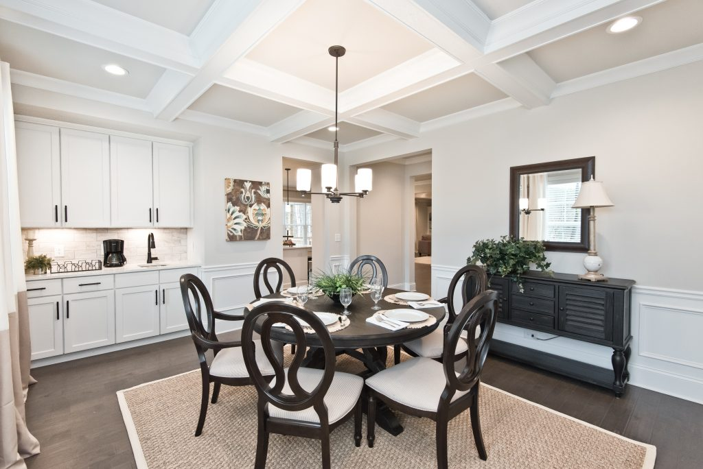 A dining room in a luxury new home
