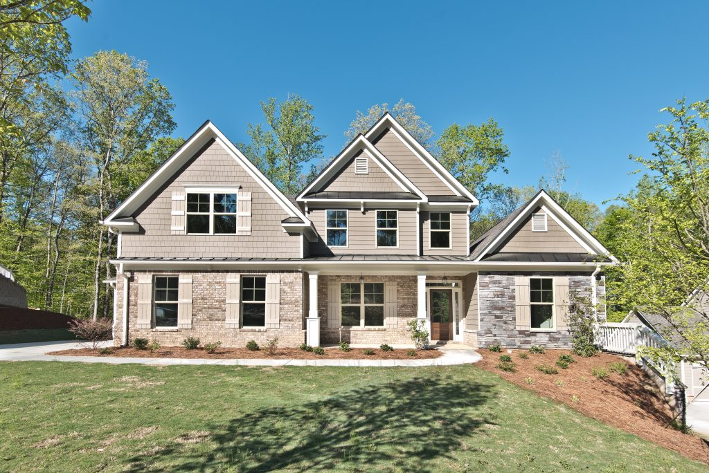 River Rock Exterior, covered front porch, new homes in Georgia at River Rock