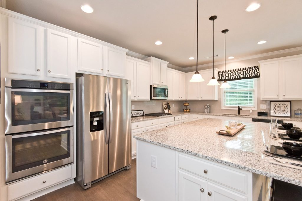The kitchen in a River Rock home