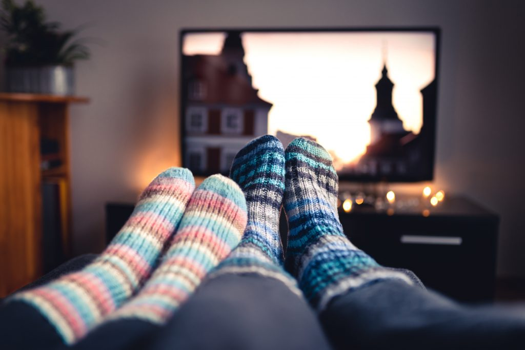 Cozy Fall Traditions In Georgia Living Room Watching Classic Movies terovesalainen © 123rf